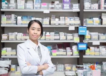 Nurse standing at pharmacy